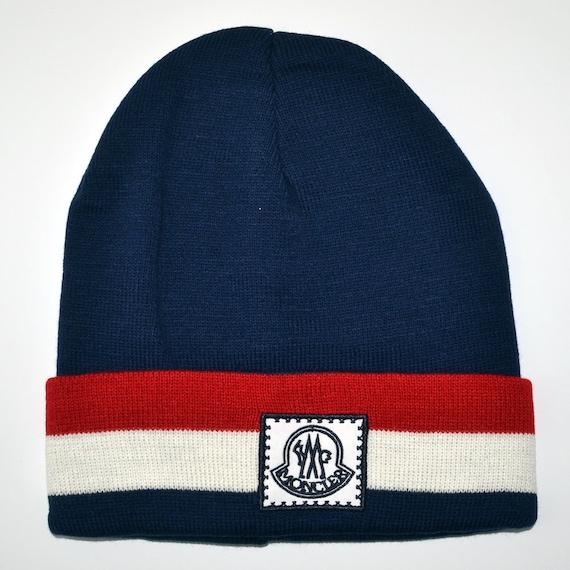 Vintage MONCLER Blue WOOL Beanie Hat