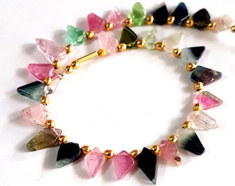 Multi colors Tourmaline Gemstone Watermelon Slices Smooth Briolette Beads 4X6 mm to 4X9 mm Size Approx. Beads 6.5 inch Strand SA No.- 1510