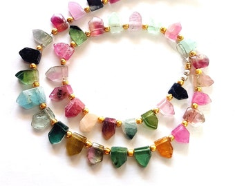 Natural Multi Tourmaline Watermelon Gemstone Tourmaline Smooth Pentagon Slices 5X5 mm to 6X10 mm Size Approx Beads 11 inch Strand SA No 1404