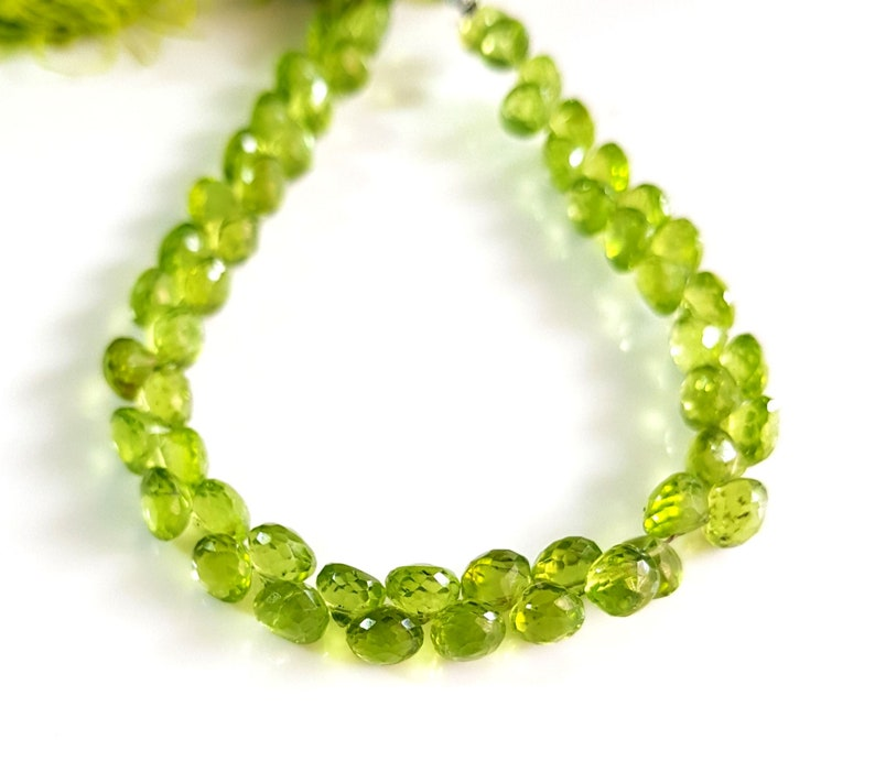578 Natural Peridot Beads Gemstone Peridot Faceted Onion Shape Beads 5X6 mm to 6X6 mm Size Approx Beads 8 inch Strand SA No.