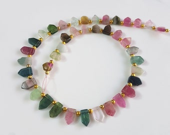 Multi Tourmaline Beads Gemstone Multi Tourmaline Faceted briolette Shape Beads 4X5 mm to 4x8 mm Size Approx. 10 inch Strand SA No.- 113