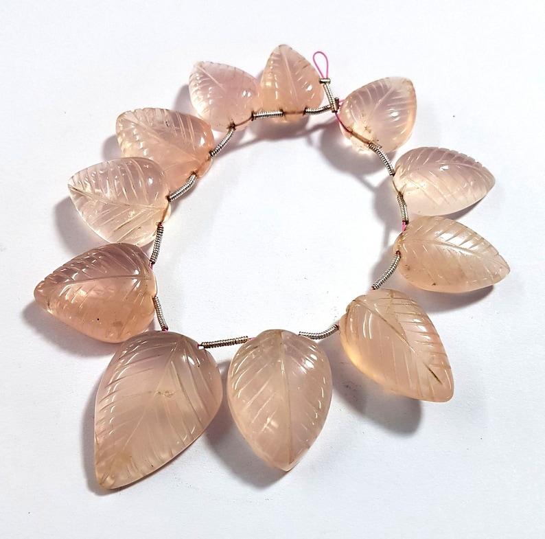 493 Natural Rose Quartz Leaf Carving Gemstone Rose Quartz Pear Shape Beads 13X18 mm to 20X29 mm Size Approx Beads 6 inch Strand SA No.