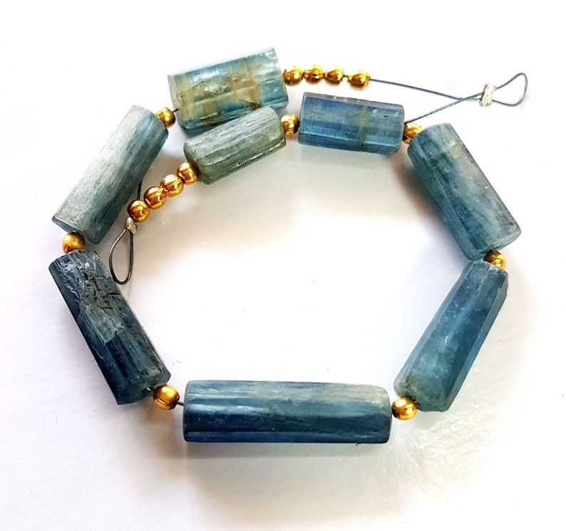 1422 Natural Kyanite Beads Gemstone Kyanite Faceted Tube Shape Beads 4X8 mm to 4X17 mm Size Approx Beads 5 inch Strand SA No.
