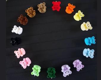 flocked fuzzy teddy bear earrings!