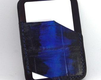 Porte-carte en crocodile bleu patiné
