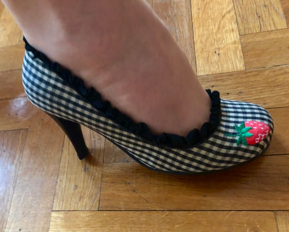Irregular Choice gingham pumps with embroidered st