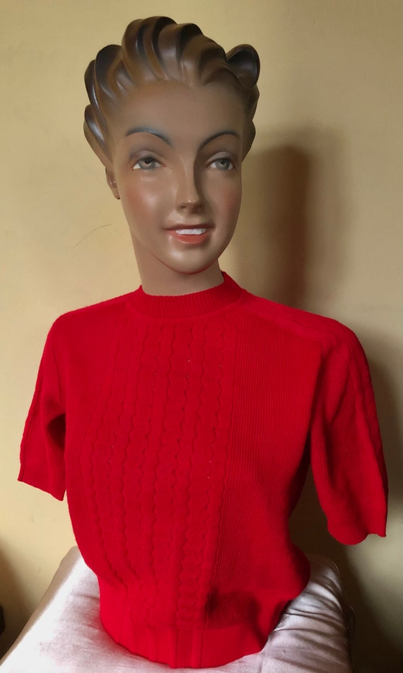 Bright red 50s 60s sweater.