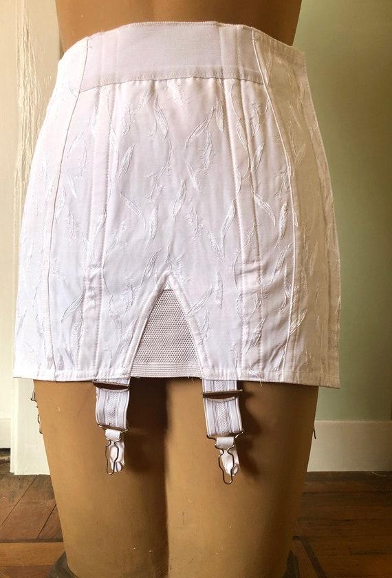 True vintage 50s white wedding satin garter, waist