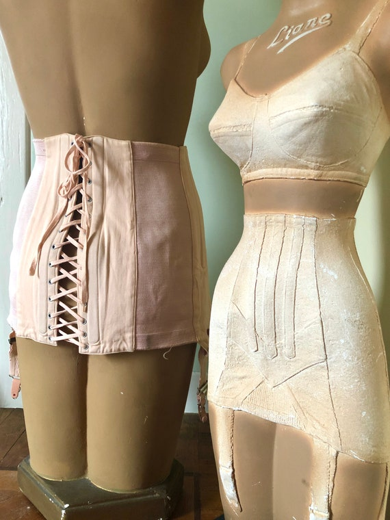 40s French soft pink lace up girdle corset