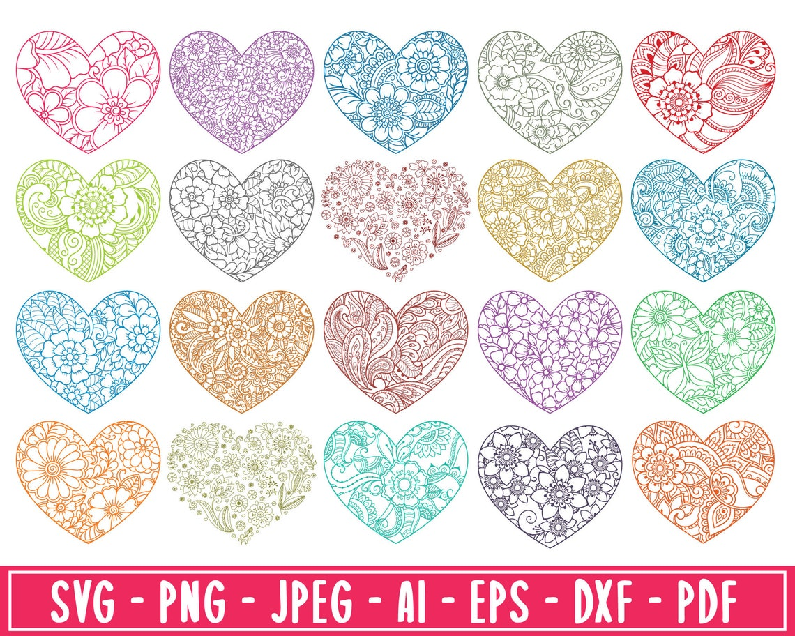 Floral Heart Pattern SVG Keychain Pattern SVG Bundle ...