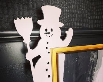 Snowman Door Corner Sign,  Snowman Christmas Decorations, Holiday Decoration with Snowman, Unique Christmas Decor