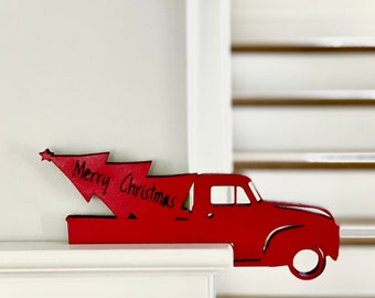 Christmas Red Truck Decor Door Corner Sign, Merry Christmas wood Sign With Vintage Truck, Unique Christmas Decor, Christmas Truck Sign