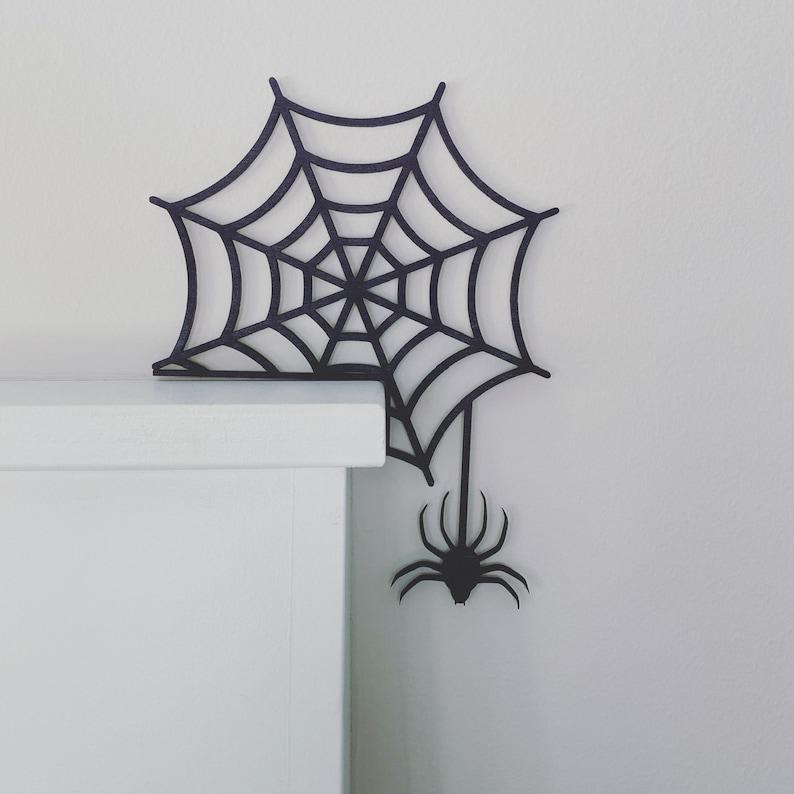 Halloween Door Corner Sign Spider Web Halloween Decor image 1