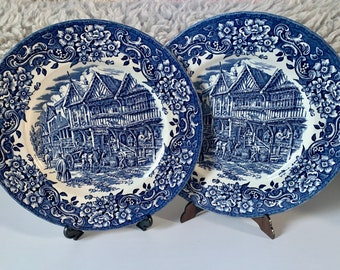 Royal Tudor ware hand engraved by W.N.Mellor 2 diner plates in blue