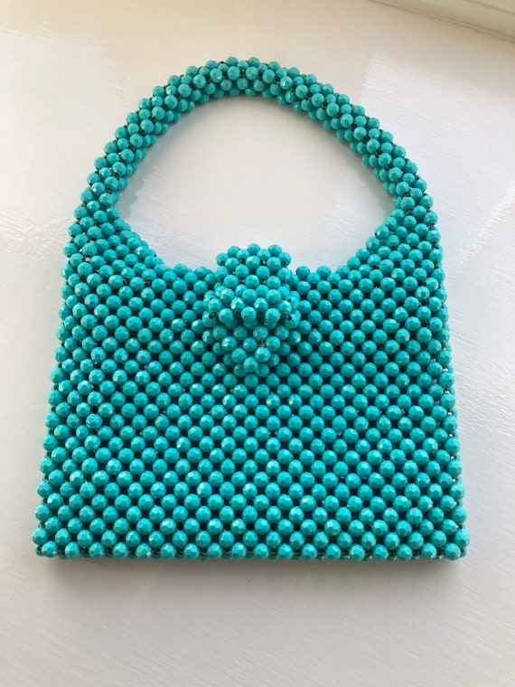1960s Turquoise Faceted Beaded Bag