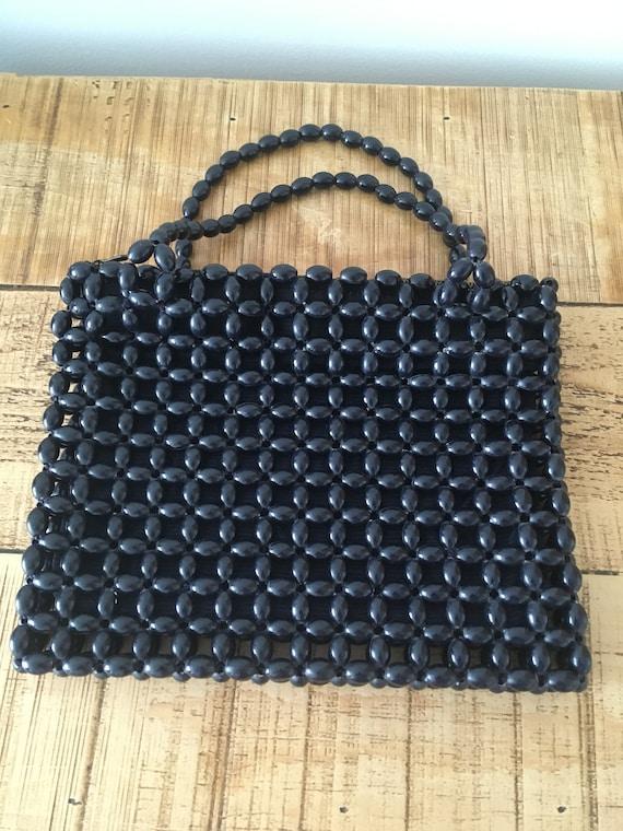 1960s Navy Beaded Bag
