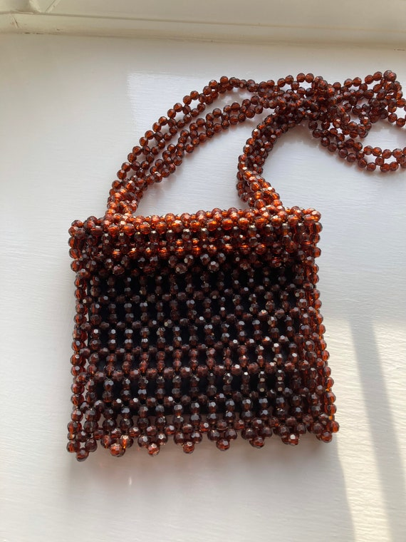 1960s/1970s Harrods Amber Beaded shoulder bag