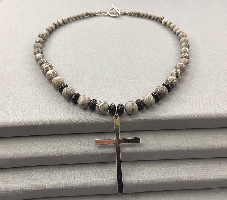 Black /& Silver Cross Necklace Gothic Jewelry Silver Jasper and Black Tourmaline Beaded Necklace Graduated Bead Necklace Cross Pendant