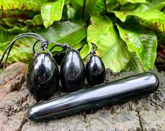 Yoni Wand - Black Obsidian yoni eggs - Set of three drilled yoni eggs - Yoni Wand - Massage stick - Kegal Balls - Sexual Wellness