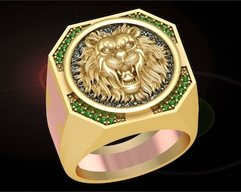 peomise ring Cat Lion Tiger Ring 14k yellow gold over animal jewelry animal ring 3ct oval 4 lion ring lion gift ruby diamond ring