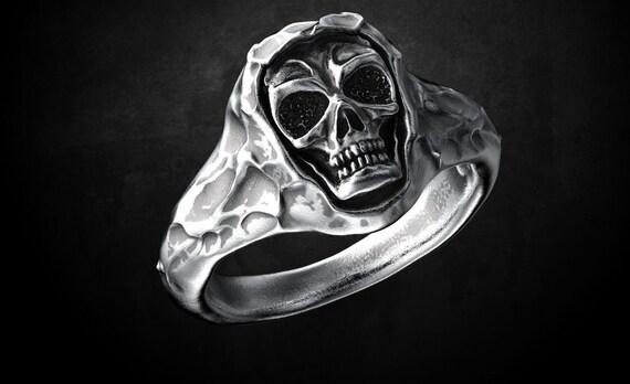 Flower Skull Ring Tattoo Ring skull gift Tribal Handmade ring 925 Sterling Silver Handmade Flower Skull Ring Flower Garden Skull Ring