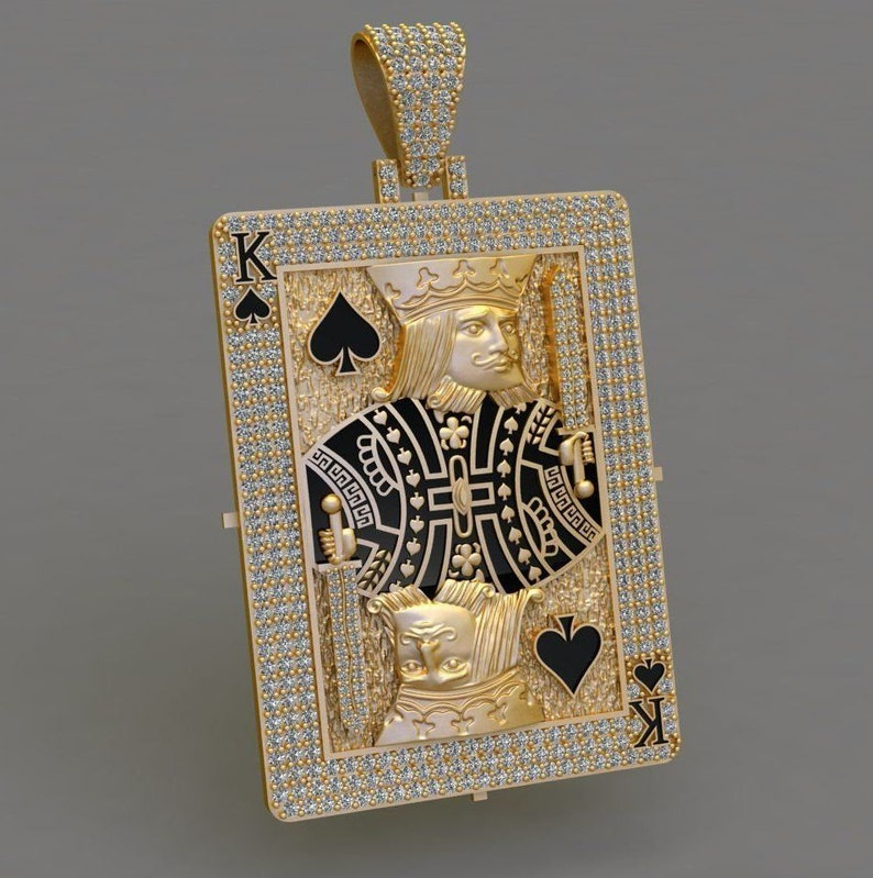 gift her hip hop pendant diamond pendant Poker Player 2.50ct  14k gold over  pendant Card Player