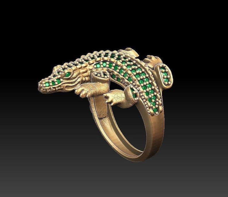 14k gold over diamond dragon ring dragon charm ring dragon animal ring  Gift for Her