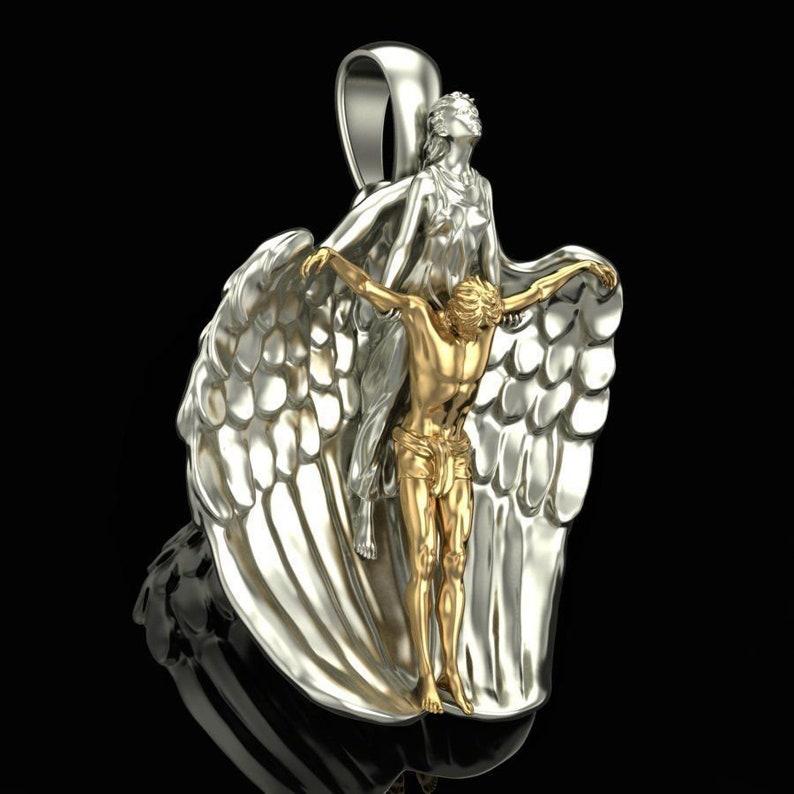 14k gold over Angel Wing Pendant man rescue pendant Two Tone Pendant wax angel pendant woman pendant 3D angel Pendant
