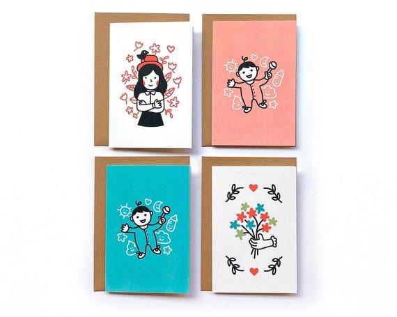 2 tarjetas felicitación (a elegir) + 2 sobres kraft