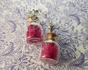 Magenta Glass Bottle Earrings