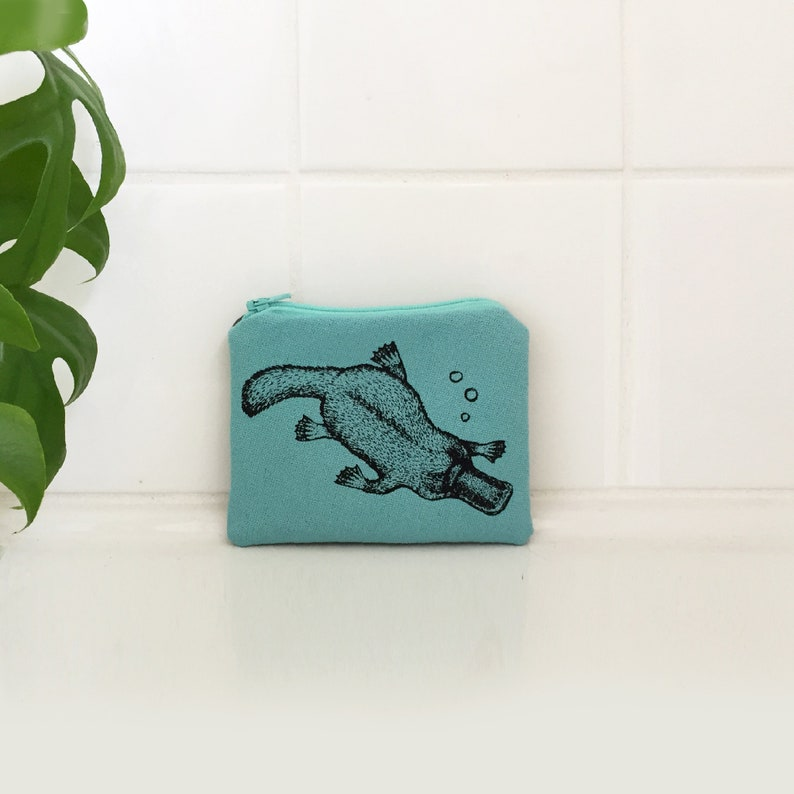 wallet. Hand screen printed platypus zip pouch coin purse