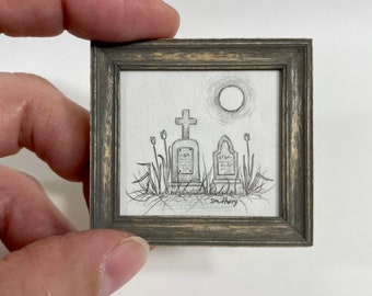 Original Pencil Drawing- Two Graves with Moon -1/12th Scale