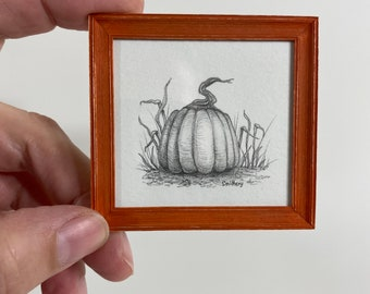 Original Pencil Drawing- Pumpkin and Grass- 1/12th Scale