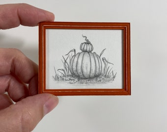 Original Pencil Drawing- Stacked Pumpkins- 1/12th Scale