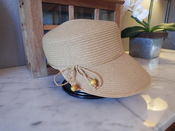 1980's, Vintage, Preston & York, straw hat-sun vis