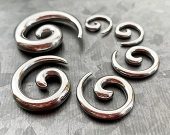 PAIR of Unique Stainless Steel Spiral Tapers Expanders - Gauges 12g (2mm) thru 2g (6mm) available!