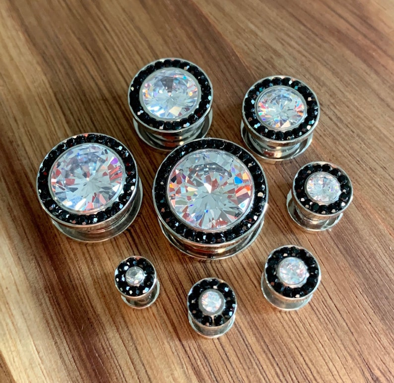 thru 58 available! 16mm Gauges 8g 3.2 PAIR of Beautiful Steel Screw Fit Plugs with Large CZ Gem Surrounded by a Black CZ Rim