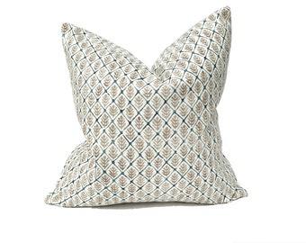 Saranac in Moss, Designer neutral floral print pillow cover, Blue/Ivory/Beige printed accent pillow, Custom lumbar pillow pillows,