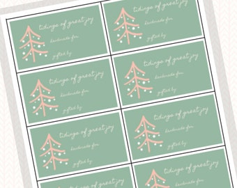 Tidings of Great Joy - Green & Peach - Printable Gift Tags, Digital Download for Knitters and Crocheters