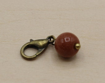 Natural Gold Sandstone Beaded Stitch Marker