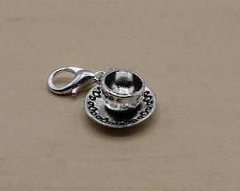 Teacup Progress Keeper, Knitting Progress Keeper, Crochet Progress Keeper, Stitch Marker Charm, Planner Charm