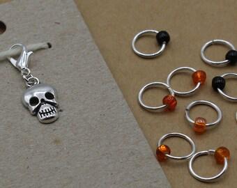 Spooky Scary Skeletons Progress Keeper + Beaded Stitch Marker Set