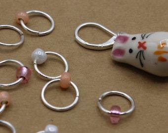 Bunny Rabbit Progress Keeper + Beaded Stitch Marker Set