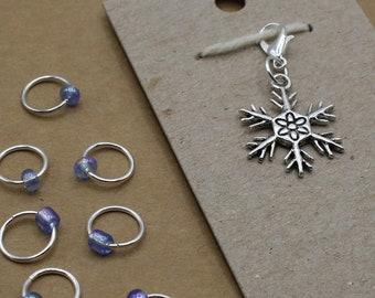 Snowflake Progress Keeper + Beaded Stitch Marker Set