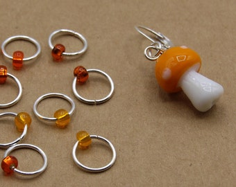 Orange Mushroom Progress Keeper + Beaded Stitch Marker Set