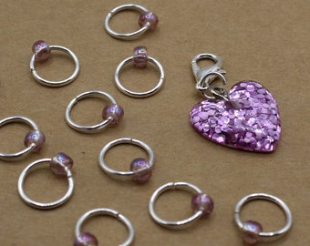Pink Glitter Heart Progress Keeper + Beaded Stitch Marker Set