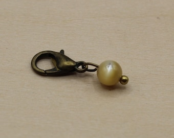 Natural Mother of Pearl Shell Beaded Stitch Marker