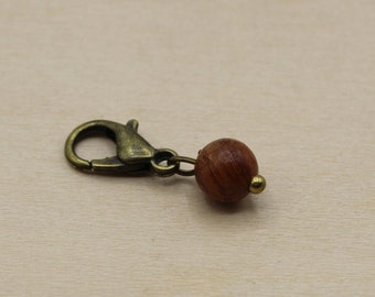 Natural Wood Small 6mm Beaded Stitch Marker