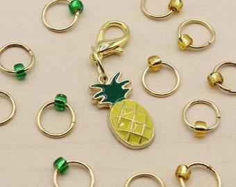 Pineapple Progress Keeper + Beaded Stitch Marker Set