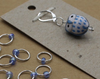 Light Blue Owl Progress Keeper + Beaded Stitch Marker Set